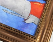 Small but brave superhero whale, original painting in upcycled frame. Whimsical illustrative piece - great gift!