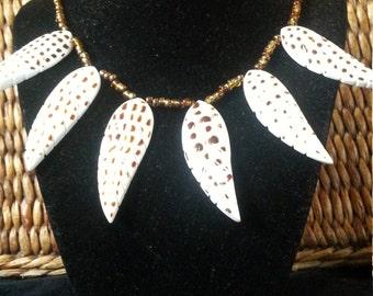 Carved shell artist designed necklace big bold leaf charms