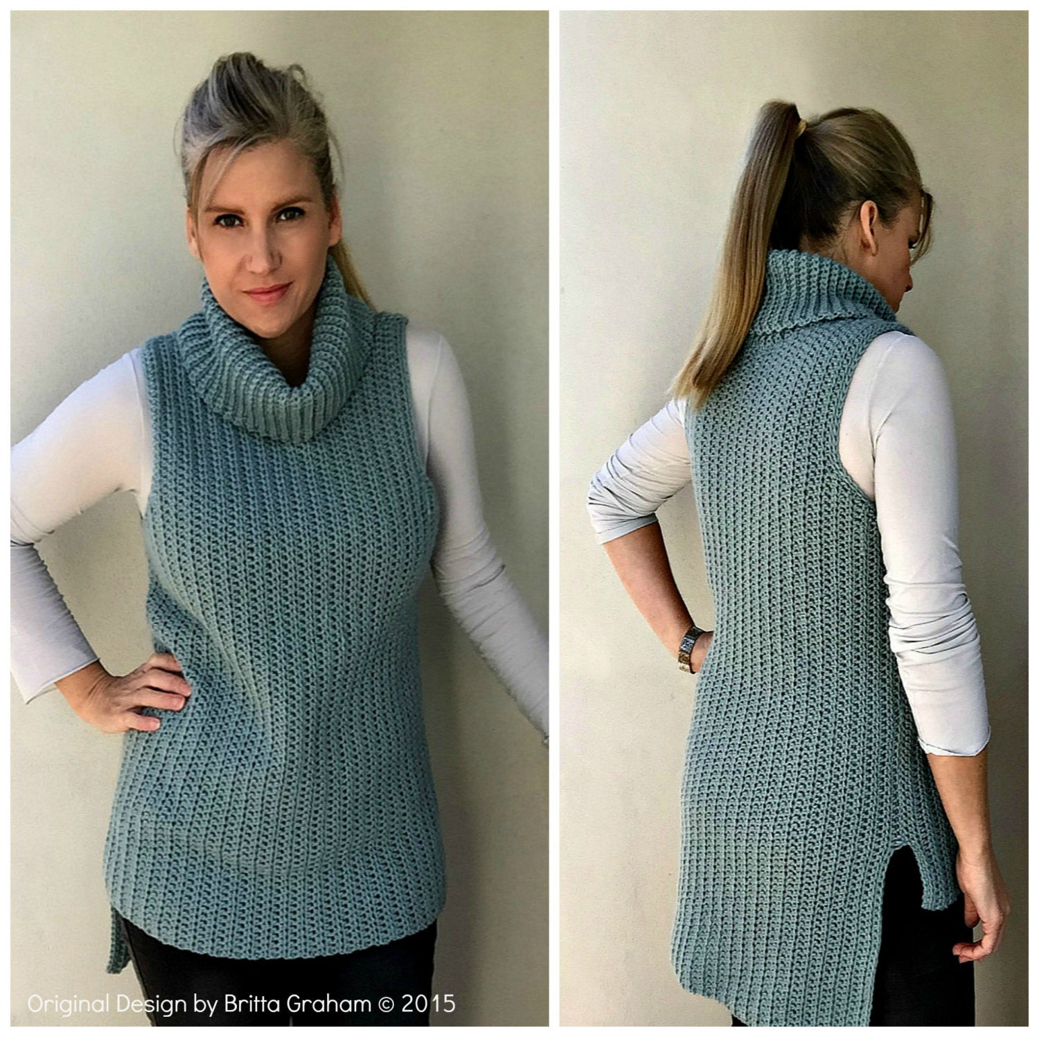 Easy Hi-Lo Cowl Neck Tunic Crochet Pattern Sleeveless Ladies