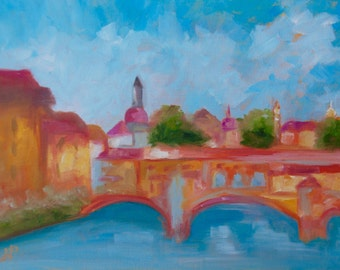 12 x 16 Modern Impressionist Original Oil Ponte Vecchio Florence Italy Landscape Painting by Rebecca Croft