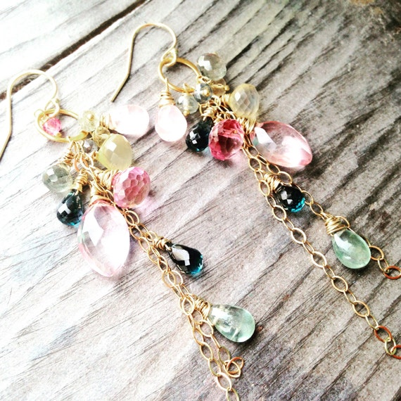 Chandelier Earrings with Exquisite Cascade of Semi Precious Gemstones