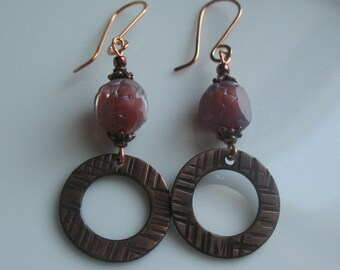 handcrafted dangle earrings-mixed metal and bead earrings-2 12 inch dangle earrings
