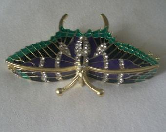 Vintage Enamel and Rhinestone Studded Cloisonne Butterfly Box with Spring Lid