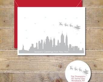 Christmas Cards, Holiday Cards, New York City, Santa, Skyline, City, Manhattan, NYC, Silhouettes, Reindeer, Rudolph, Handmade