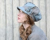 Shabby Linen Newsboy Hat in Light Turquoise and Brown
