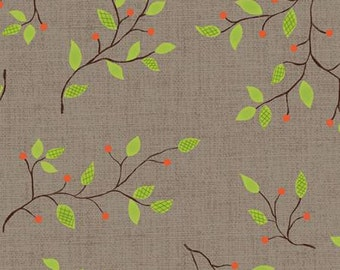 END OF BOLT - 3/4 Yard, Branches on Gray Cotton Quilt Fabric for Sale, Home for Harvest 6378-90, Green, Orange