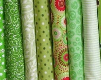 Eight Green Fat Quarters, Fat Quarter Bundle, Cotton Quilt Fabric Bundle, Fabric for Sale, FQBGreen4