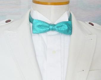 Vintage Metallic Teal Lame' Pretied Adjustable Bow Tie