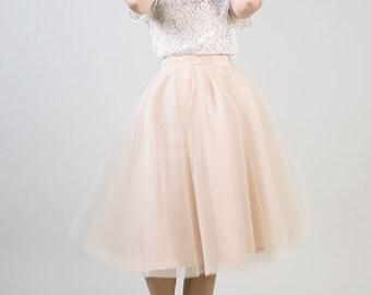 Taupe knee length tulle skirt / Beige ballerina skirt  - made to order