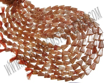 Red Moss Quartz Smooth Triangle (Quality A) / 9x12 to 10x13 mm /  20 to 22 Grms / 36 cm / REDM-064
