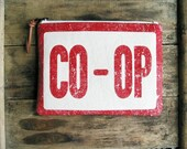 Red Vintage Sign Clutch Zipper Smartphone Pouch Country Southern Americana Accessories Women Made in Nashville USA