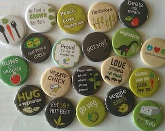 "Lot of  20 vegetarian sayings 1"" or  1.25""  buttons pinback flatback hollowback or magnet you choose"