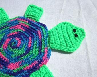 Crochet Pot Holder, Turtle Hot Pad, Trivet, Green Pink Blue and Purple Turtle, Crochet Turtle by Charlene, Wall Decor, Mug Rug
