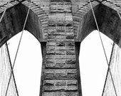 Fine Art photography, NYC, New York City, Brooklyn Bridge, architecture details, arch, black and white, vintage 8x12
