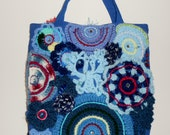 Blue cotton boho tote bag embellished with freeform crochet, ribbon, rhinestones and flowers//gifts for her//20% off use code: ClearanceSale