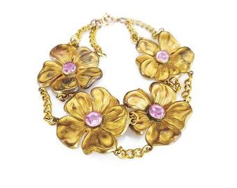 Art Deco Bracelet, Pansy Flower, Pink Stone, Gilt Gold Wash, Vintage Bracelet, Antique Jewelry