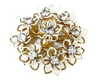 Kramer Brooch, Rhinestone Brooch, White Enamel, Gold Tone, Sixties Mod, Vintage Brooch, Vintage Jewelry