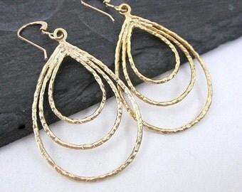 Gold Teardrop Dangle Earrings -- Textured Drop Earrings -- Gold Loop in Loop Earrings -- Triple Drop Earrings -- Multi Teardrop Earrings