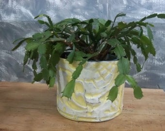 CREAMY YELLOW Plant Holder in old ceiling tin