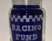 NASCAR Fund, Up-cycled Yankee Candle Jar, Hand-Engraved