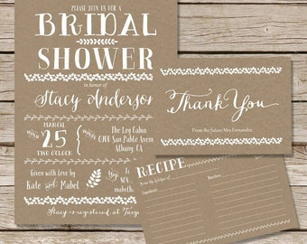 Rustic Bridal Shower Invitation, recipe card and thank you card set  / kraft bridal shower invitation kit / digital printable invitation