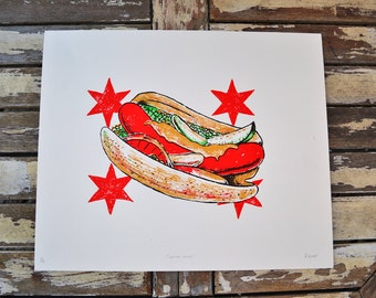 Chicago Hot Dog Print