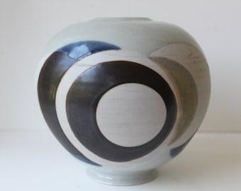 Black Friday Sale; Vintage Round Studio Pottery Vase, Mid Century Modern, Abstract