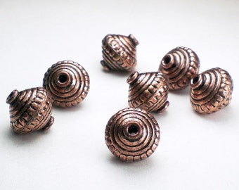 Large Solid Copper Beads 11mm Copper Bicone Beads 7 pcs. GC-324