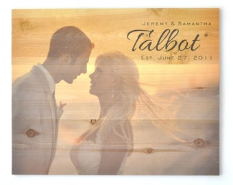 Timberprintz Personalized Family Name Sign Printed on Real Wood Photo 16x20