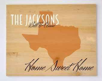 Personalized Pallet Wood Sign Rustic Home Sweet Home State Shape Sign 16x20