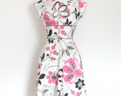 Pink & Black Graphic Floral Tea A-Line Dress with Cap Sleeves - Made by Dig For Victory