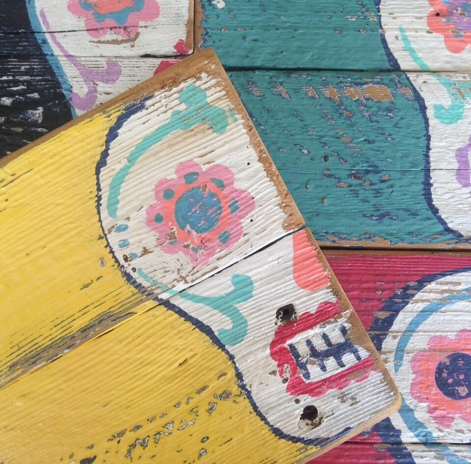 Sugar Skull Art On Reclaimed Picket Fencing Wood