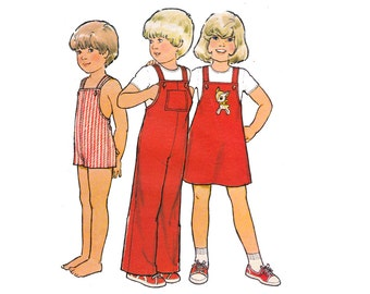 70s Toddlers Dungarees Rompers Jumper Pattern Style 2263 Vintage Sewing Pattern Size 2