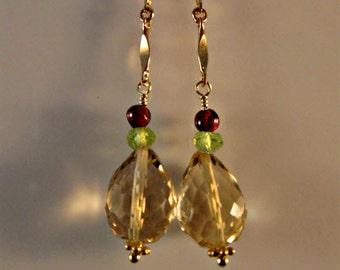 Gemstone drop earrings,dangle earrings,multi gemstone earrings,gold earrings,gemstone jewelry,gold jewelry,peridot earrings,garnet earrings