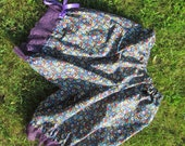 """blue floral and purple lace Cotton Bloomers, Small with an elastic waist , 18"""" long"""