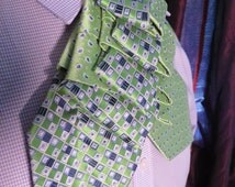 Unisex upcycled Steinkirk, lime green and blue, Steampunk, Victorian spin on your everyday tie