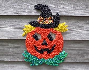 Jack-O-Lantern Pumpkin Halloween Melted Plastic Vintage Decoration