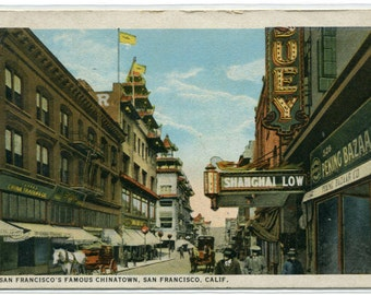 Chinatown Street Scene San Francisco California 1924 postcard