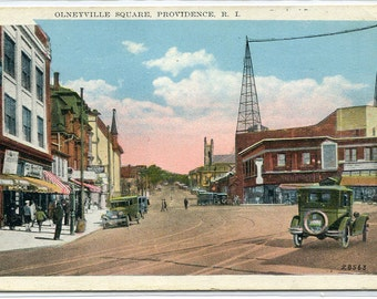 Olneyville Square Cars Providence Rhode Island 1920c postcard