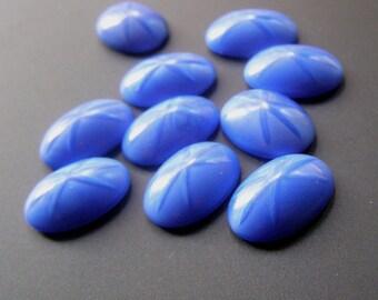 Vintage Blue Moonstone Star Sapphire Cat Eye Glass Cabochon Lot 18x13 Oval Flat Back Destash