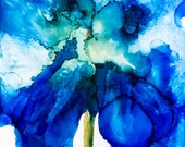 Blue Iris Floral Art Print Matted to 16 x 16 Flower Art