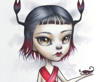 Scorpio - Zodiac Girl signed 8x10 pop surrealism lowbrow Fine Art Print by Mab Graves -unframed