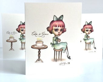 Cake is Gross - set of 3 blank note cards - by Mab Graves - Happy Birthday / Un-Birthday Card