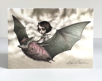 The Bat Rider - signed 4 x 5.75 Mini Art Print by Mab Graves - unframed - open edition