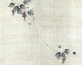 Japanese Handpainted 100% Linen Noren-Grapes on Vine,signe