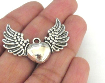 6 pieces - Angel Heart wing charms antique silver tone - 48mm x 15 mm - CM122