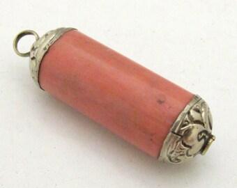 1 Pendant - Ethnic tibetan peachy salmon coral cylinder shape pendant - PM002A