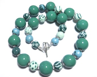 Ceramic Jewelry, Kazuri Bead Necklace in Teal and Sky Blue