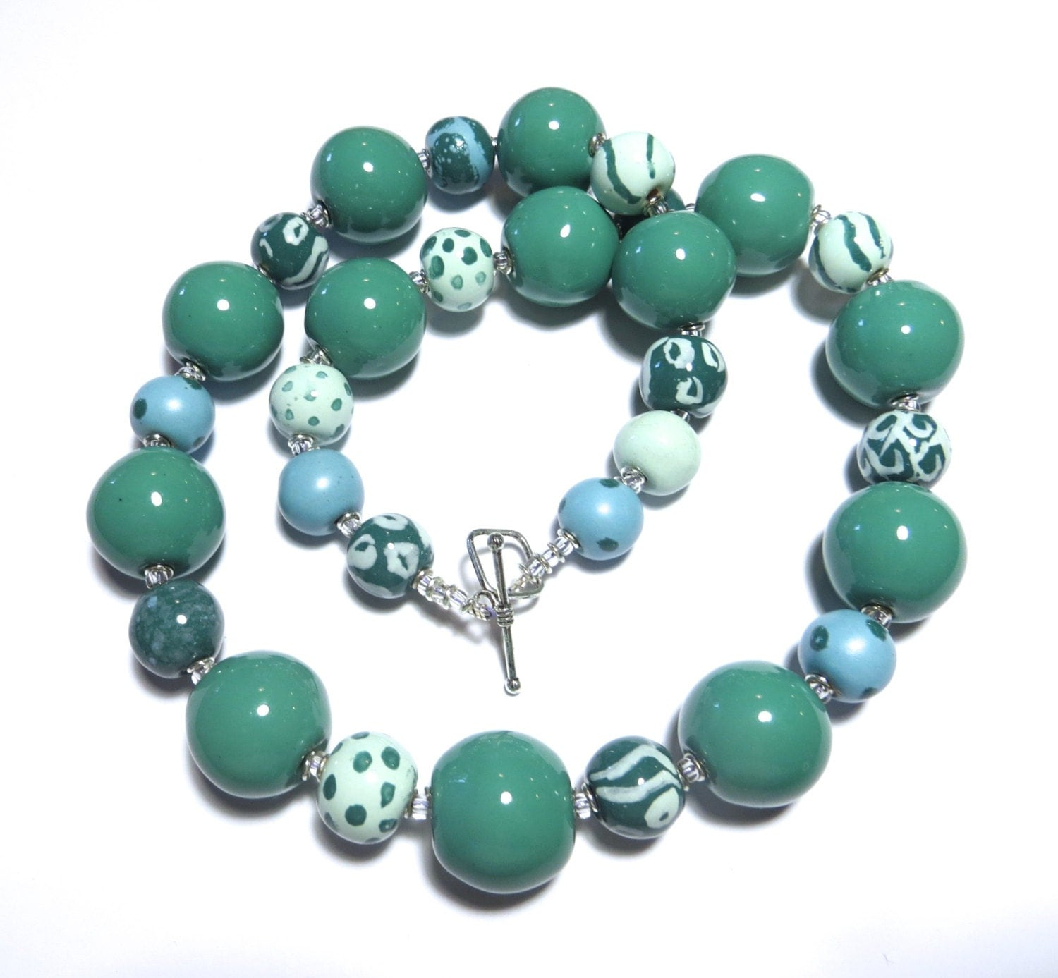 Ceramic Bead Beads: Ceramic Jewelry Kazuri Bead Necklace In Teal And Sky Blue