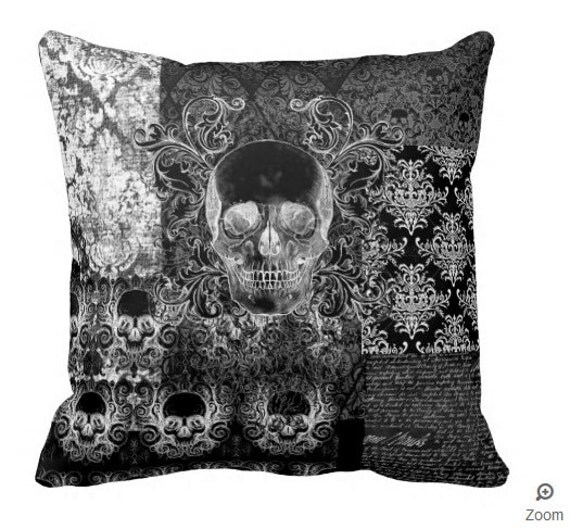 Shabby Chic Ornate Skull throw pillow
